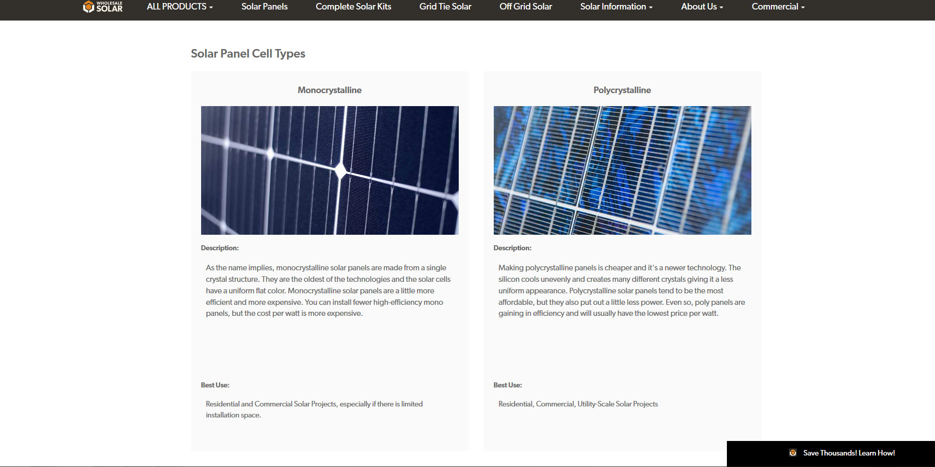 """Solar panel cell types on a page that has SEO for """"solar panels"""""""